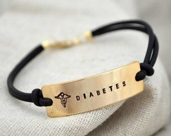 Double Sided Gold Med Alert Bracelet - Personalize - Diabetes