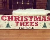 Hand painted wood Christmas Trees sign
