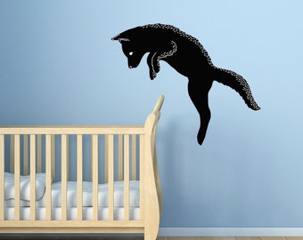 CLR:WALL - Dog Jumping - Vinyl Wall Decal  (Size Choices Available) (Black & White)