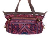 Red Diamond Tote Bag Handmade Leather Strap Hill Tribe Thailand Fair Trade (BG715-RDIA)