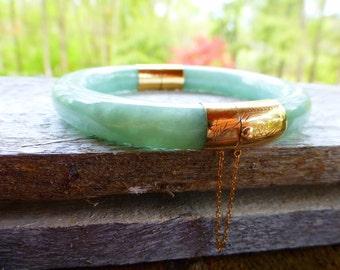 Classic 14k Apple Green Fei cui Jadeite jade hinged bangle bracelet flowering green