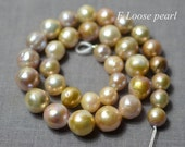 DLY Round Edison Pearl 10.5-13.5mm Large hole pearl Freshwater Pearl Necklace pearl multicolor Loose pearls earrings Full strand PL4284