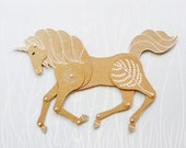 Unicorn articulated paper doll paper horse puppet unique and unusual gift charming birthday present kraft paper decoration by dubrovskaya