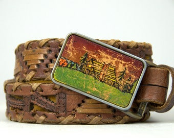 70s Hippie Mountain Cottage Scene Hand Tooled Woven Leather Belt