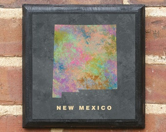 New Mexico NM Splatter Watercolor Paint Effect Wall Art Sign Plaque Gift Present Personalized Color Custom Home Decor Vintage Style Classic