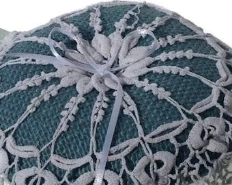Blue Burlap Ring Pillow with vintage crochet lace detail.