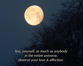 You deserve... Buddha quote, Golden Moon photograph with quotation, word art, love & affection, lunar love, inspiring words
