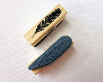Tall Bird Feather Rubber Stamp - Vintage Style Print - Gift Tags Cards Presents