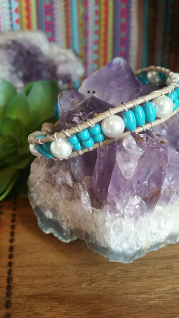 Earthy Leather Wrap Bracelet - Glass Pearls and Glass Turquoise Beads -Pretty Turquoise Flower Button - Beaded Wrap Bracelet - Summer 2016
