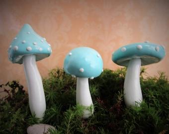 Robin's Egg Blue Mushroom - Stropharia - Verdigris Agaric - Moss Terrarium or Planter Decor - Set of 3 - Whimsical Woodland Fairy Tale