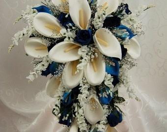 Love ARIEL NAVY Wedding Bouquet Package Bridal Bridesmaid Groom Boutonnieres Corsages Keepsake Bouquets Roses Silk Floral Custom Flowers