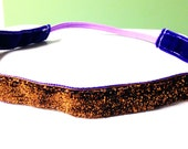 NOODLE HUGGER Non slip ribbon headband - bronze tinsel glitter - 5/8 inch (running, working out, everyday: women and girls)