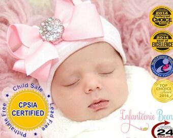 Pink and White Hospital Newborn Beanie, Her First Bow, Newborn Hat, Baby Girl Hospital Hat, Newborn Girl Hat, Newborn Girl, READY TO SHIP!
