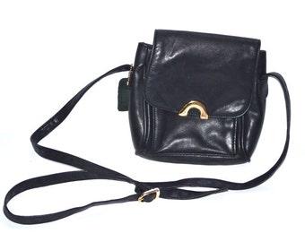 80s vintage black leather crossbody bag flap messenger bag organizer purse
