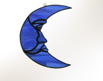 Stained Glass Moon Suncatcher Dark Blue Wispy - Price Includes Shipping