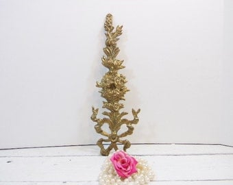 Vintage Brass Rose Tree Shabby Cottage Victorian Chic Wall Swag