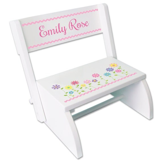 Personalized Girls White Wood Step Stool Folding By Mybambino