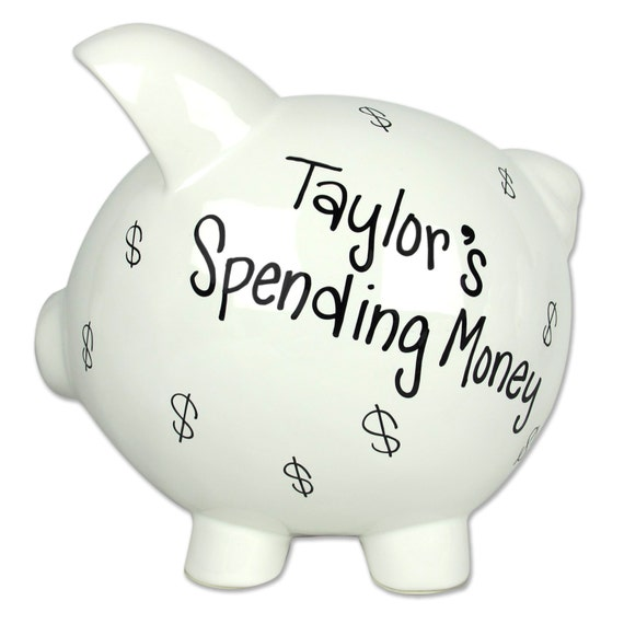 Any fund adult piggy bank hand painted personalized by mybambino - Jumbo piggy banks for adults ...