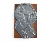 large metal printer plate George Washington letterpress metal on wood from Elizabeth Rosen