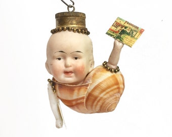 Snail Mail, mixed media assemblage art doll ornament, victorian doll, vintage postcards,  by Elizabeth Rosen