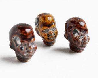 3 Damaged Antique German Bisque Black African Men bottle stoppers or doll heads  from Elizabeth Rosen