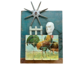 a cocky fellow, original mixed media assemblage, rooster art, found object art, rustic decor, peculiar art by Elizabeth Rosen