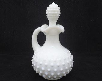 Vintage Avon Hobnail White Milk Glass Cruet, Avon Perfume Bottle with Stopper, Avon 1970s