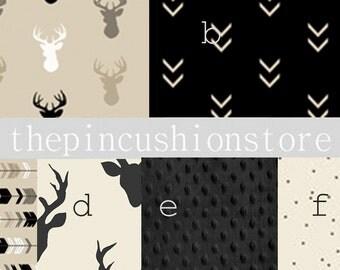 Stag Buck Deer Prints Baby Bedding Black Taupe  Grey Woodland Crib Bedding