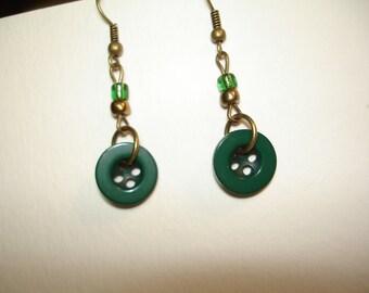 Dangle Button Earrings - EMERALDgreen earrings - Button Earrings - Dangle Teal Earrings