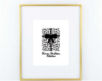 Black and White Animal Print 'Merry Christmas, Fabulous' Christmas Holiday print poster