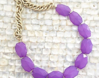 Purple Statement Necklace Single Strand Textured Gold Chain