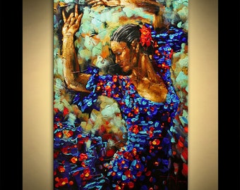 Flamenco in Blue Painting figure Oil Acrylic on Canvas Modern Home Decor ready to hang