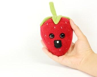 Mini Strawberry Stuffed Toy, Strawberry Plushie, Strawberry home decor, Play Food Strawberry, Kawaii Strawberry