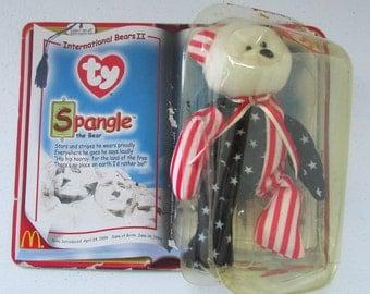 TY Beanie Baby McDonalds Plush Toy Spangle Bear Teenie Beanies RMHC International Bears II