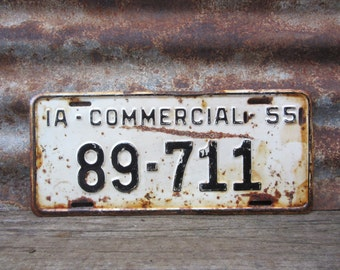 Vintage IOWA License Plate 1955 Commerical Black & White Heavily Rusted Aged Patina  VTG Garage Man Cave Industrial Rat Rod Car Truck