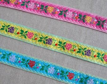 Retro rose jacquard ribbon - 2m (2.2yds), choose your colour