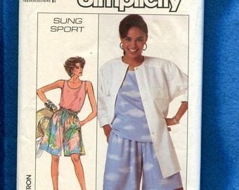 Vintage 1980's Simplicity 8056 Alfred Sung Resort Wear Loose Fitting Tops & Shorts Size 10..12..14 UNCUT