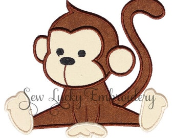 Baby Monkey Applique Embroidered Patch , Sew or Iron on