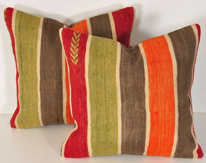 Set of 2 Kilim pillow covers, skp3-81, Kilim Pillow, Turkish Pillow, Kilim Cushions, Kilim, Moroccan Pillow, Bohemian Pillow, Turkish Kilim