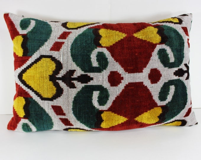 Silk Velvet Ikat Pillow Cover Lp310, Bohemian pillow, Velvet Ikat Pillow, Velvet Pillow