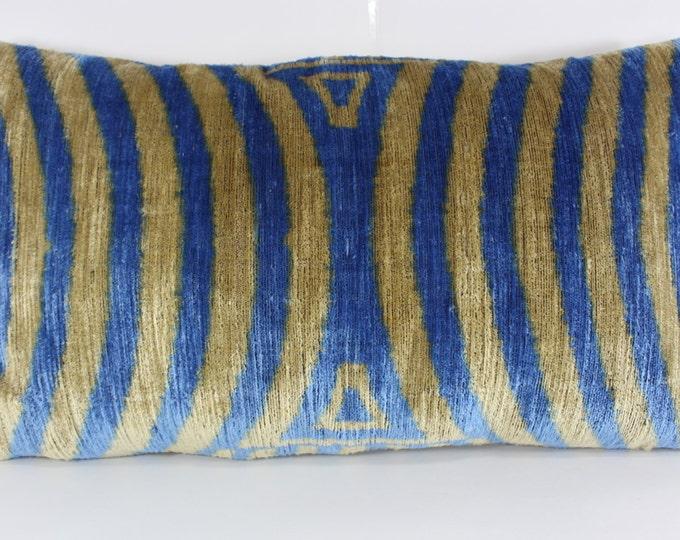 Silk Velvet Ikat Pillow Cover Lp317, Bohemian pillow, Velvet Ikat Pillow, Velvet Pillow