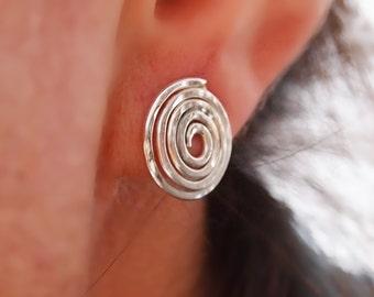 Sterling Silver Stud Earrings, Spiral Silver Earring, Everday Studs, Handmade Jewelry