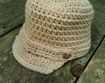 Crocheted Newsboy Hat for Girl or Boy, Custom Sized