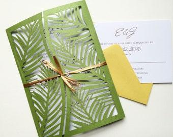 Laser Cut Palm Leaf Tree Wedding Invitation Gatefold Style, Green Palm Tree Wedding Invitation