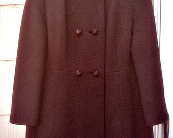 Vintage 1960s  Brown Coat Princess Style  Mod Jackie O Mad Men Small Medium