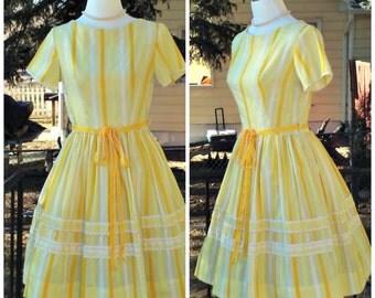 Vintage 1950s Yellow Cotton Day Dress Stripe Print Rockabilly VLV Small S
