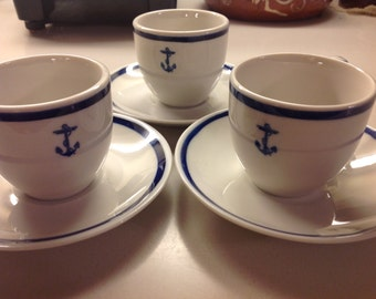 3 WWI and WWII US NavyFouled Anchor Demitass Cup & Saucer Set, Excellent condition, price on the each, Navy Demi Coffee Cup