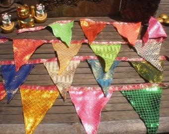 Tribal Textile Bunting,Extra LOng Bunting, Thai Skirt Textile Bunting, Bright Happy Bunting,Party Bunting, Disco Bunting