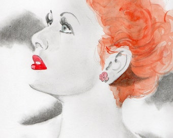 Large print of drawing Lucy Lucille Ball