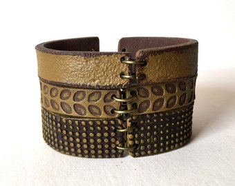 Camel Layered Cuff, Caramel Color Bracelet, Set of 3 bracelets, Wide, Fall Colors, Fall Jewelry, Women of 40, 50, 60, 70, Designer Jewelry